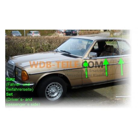 Conjunto de fita de gotejamento sob o acabamento cromado na porta esquerda + direita W123 CE / CD / Coupé A1236901780