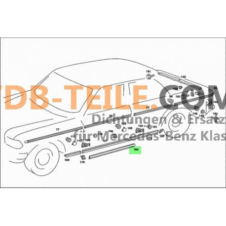 Dichtung Abdichtung Schweller Tür Beifahrertür Fahrertür W123 S123 T-Modell Kombi Sedan Station Wagon Limousine