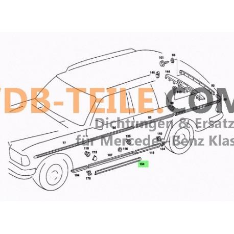 Seal rubber sill door driver passenger W123 S123 T-Modell Kombi Sedan Station Wagon Limousine