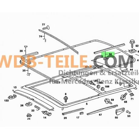 Original Mercedes-Benz sunroof gasket sealing felt A1087820198 NOS W123 Coupe CE W116 W126 w114 w115 w108