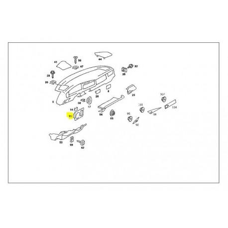 Original rosetkontakt på instrumentpanelets lysafbryderdæksel W201 190E 190D A2016890780