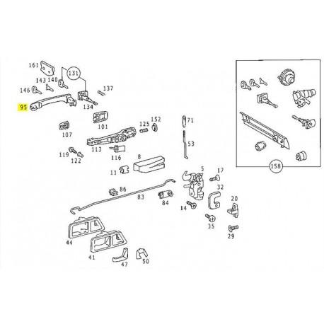 Alkuperäinen ovenkahva mallille W201 190E 190D A2017660101 7C45