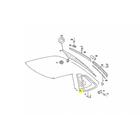 Vetro Mercedes Benz cristallino destro A1076730210 W107 C107 SLC Coupé lunotto