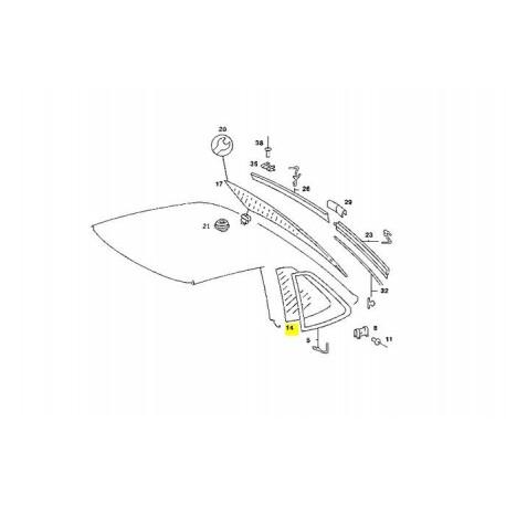 Mercedes Benz glasrude krystalklar højre A1076730210 W107 C107 SLC Coupé bagrude