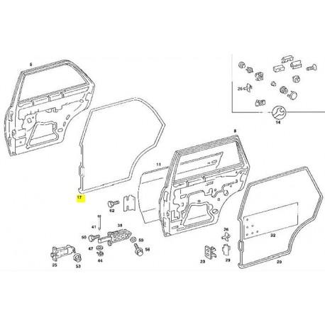Deurrubber achter links W123 Sedan afdichting frame deurrubber A1237300178