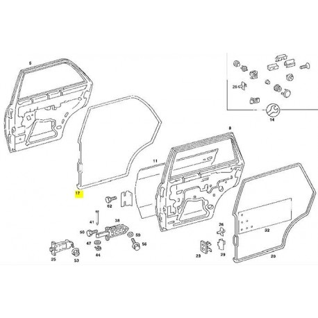 Etanșare ușă spate stânga W123 Sedan cadru etanșare etanșare ușă A1237300178