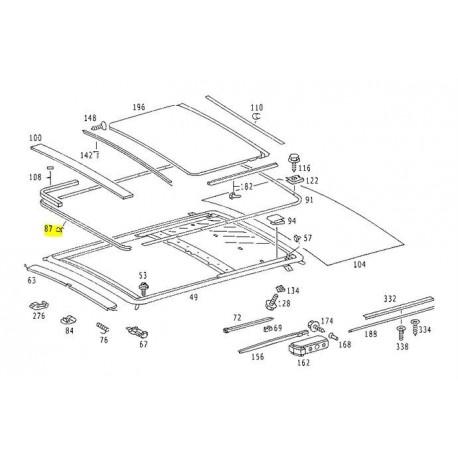 Joint de toit ouvrant d'origine Joint avant W123 W116 W115 W114 A1087820098