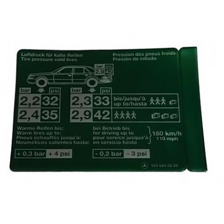 Adesivo de pressão dos pneus W124 C124 S124 A1245842639