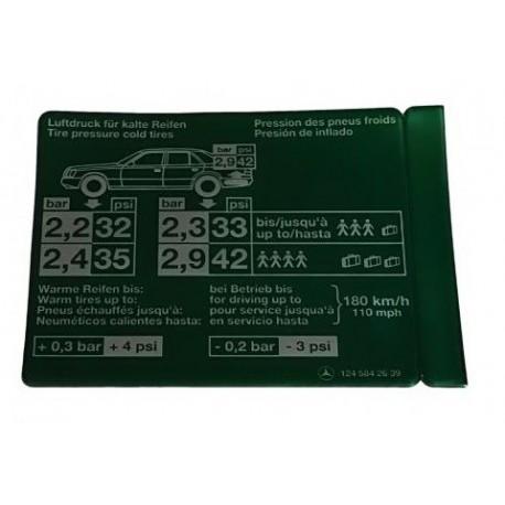 Schild Reifendruck Aufkleber W124 C124 S124 A1245842639