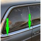 مجموعة من شريط تنقيط شريط المطر على شريط الكروم السائق وجانب الركاب يسار + يمين على العمود الخلفي W123 C123 كوبيه CE CD