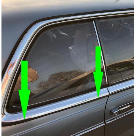 Sadeliuskan tippakaistalevy kumi koristelistalla kromiliuska kuljettajan puoli vasemmalla takapylväässä W123 C123 Coupé CE CD