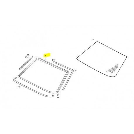 Sealing frame windscreen rubber seal W123 S123 A1236700039