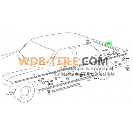 Originele Mercedes W123 C123 sierlijst kofferbak A1236980089 W123, C123, S123, Coupe, CE, Limousine