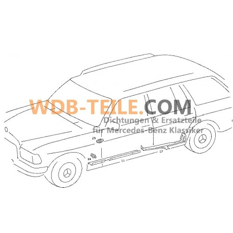OE Mercedes Benz kapı hortumu koruma hortumu kılıfı W123 W201 W126 A1268210397