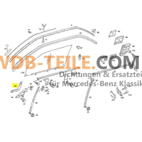 OE Mercedes Benz ختم تشغيل سكة تشغيل دليل نافذة جانب الركاب A1267250866 W126 C126 Coupé