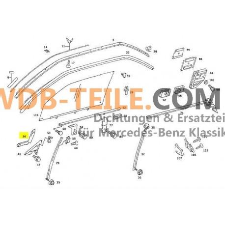 OE Mercedes Benz forsegling af køreskinne vinduesstyr førerside A1267250766 W126 C126 Coupé