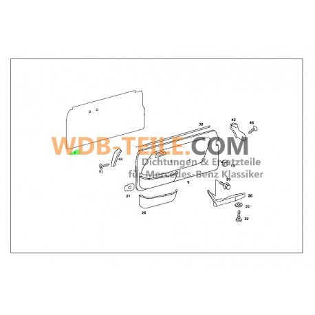 Porta de folha de vedação Mercedes Benz A1237270387 W123 C123 CE CD Coupé