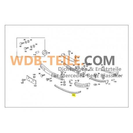 Γνήσια προστατευτική λαστιχένια ράγα προφυλακτήρα Mercedes 1238850021 W123, C123, Coupe, CE, Limousine, T, TE, Kombi