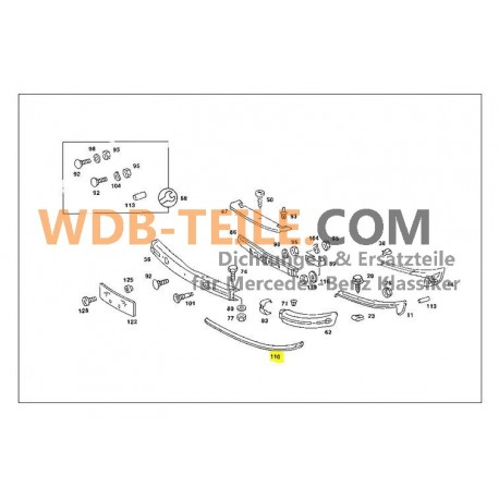 Binario di protezione in gomma per paraurti originale Mercedes 1238850021 W123, C123, Coupe, CE, Limousine, T, TE, Kombi