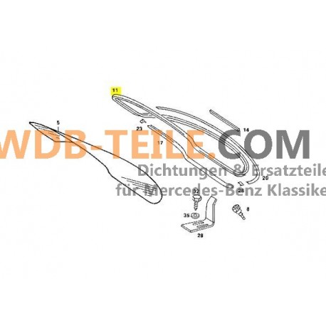 Tiivistysrungon takalasin tiiviste takalasin W123 C123 Coupe CE CD A1236700539