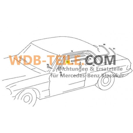 Bande de joint chromée d'origine pilier AC W123 CE W126 SEC Coupé A1236270098