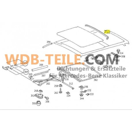 Original Schiebedach Dichtung hinten Abdichtung W123 CE W126 SEC Coupé A1237820398