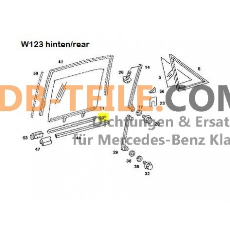 Mercedes Benz sealing rail seal window shaft A1267250365 W123 S123 W126