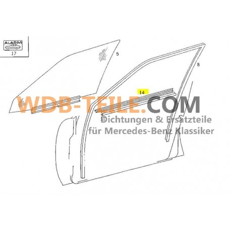 Mercedes afdichtrail afdichting raamas FE looprail W124 S124 sedan Kombi T TE A1247250165