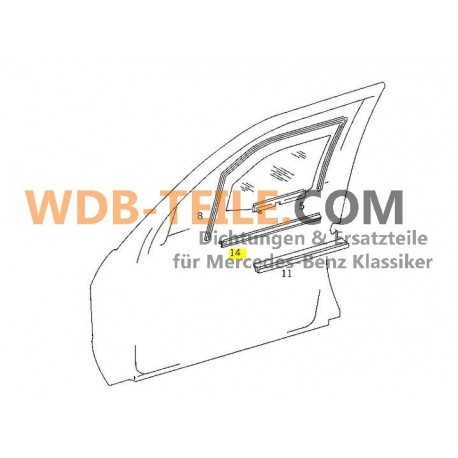 Mercedes tömítő sín tömítő ablak tengely kívül W201 190E 190D A2017250565