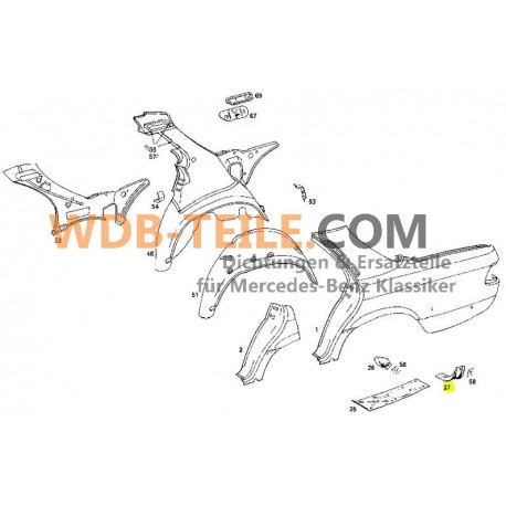 Mercedes konsol sidevæg fastgørelse kofanger bagagerum W123 C123 Coupé CE CD W116