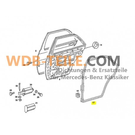 Στεγανοποίηση πόρτας πίσω δεξιά για Mercedes W201 190 190E 190D