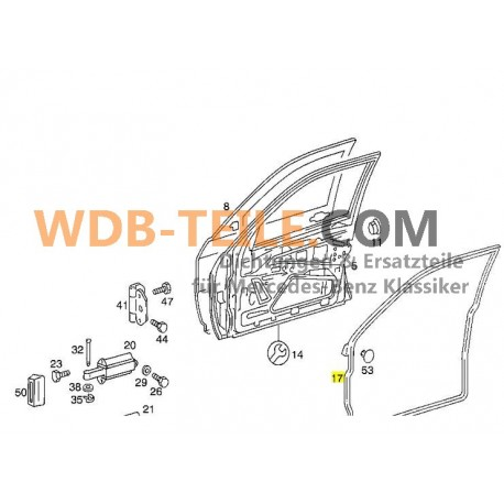 Уплотнитель двери передний правый на Mercedes W201 190 190E 190D A2017200678