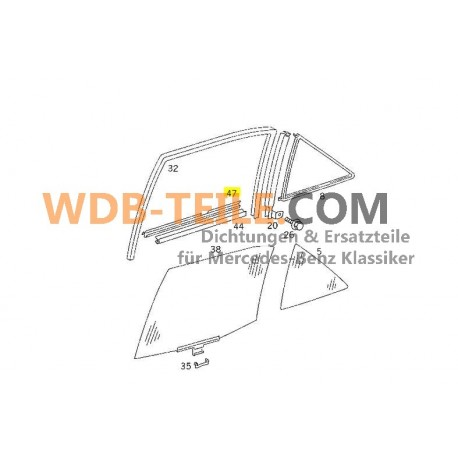Originale Mercedes guarnizione del binario di tenuta albero della finestra posteriore destro esterno W124 berlina A1247350265