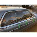 Sæt med regnbånd drypbånd på trimbånd chrome strip fører-passager dør venstre & højre W123 C123 Coupé CE CD