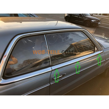 Rain strip under chrome cover on the door right W123 A1236901780 A1236901880 C123 123 Coupe CE CD