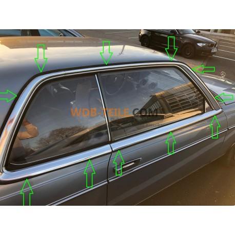Kapak seti kauçuk profil kauçuk yağmur şeritleri ön duvar direğinden arka direğe krom şerit AC direği W123 CE CD Coupe