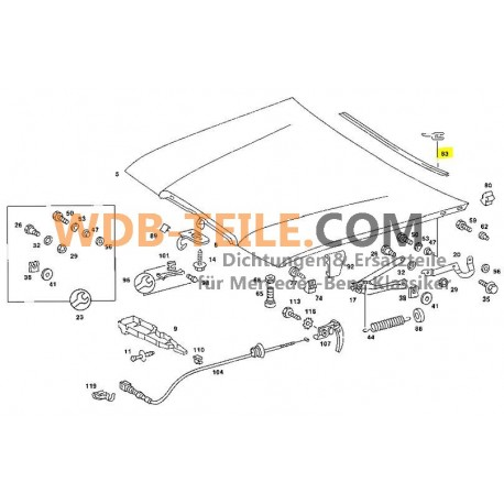 Orijinal sızdırmazlık ön cam kaputu W123 S123 C123 Kombi Coupe Limuzin A1238890298