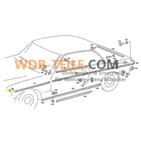 Push button clip trim strip chrome strip W123, W107, W108, W109, W114, W115, W124, W126 A0019887681