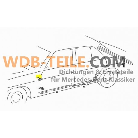 Manguera de protección de manguera original Mercedes Benz W123 Limousine Kombi TE A1238210697