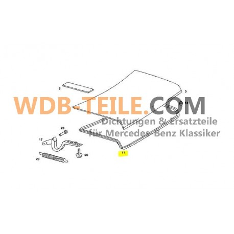 Bagageutrymme packning tätningsram W123 C123 CE CD Coupe Sedan