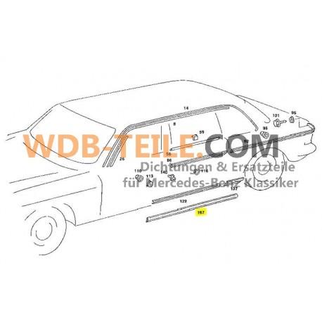 Tætningsdørpakning Førerdør, passagerdørforsegling W123 V123 Pullman personbil