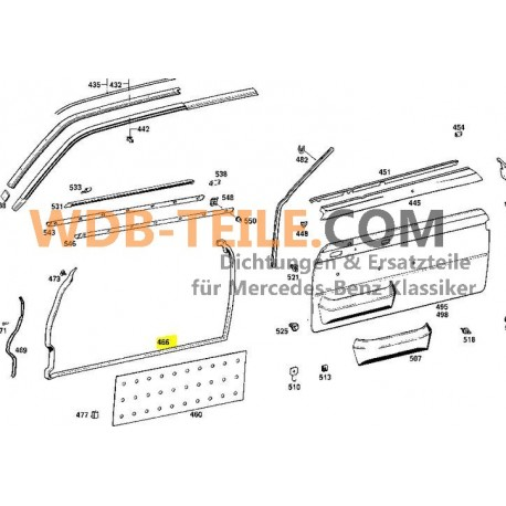 Set deurrubbers van OE-kwaliteit W114 Coupe C CE A1157200578 A1157200678