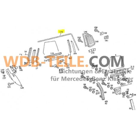 Ventana lateral del marco de sellado Mercedes en el marco del techo izquierdo W107 C107 SLC Coupé A1076700130 A1077201178